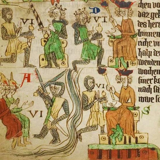 Das mittelalterliche Lehnsrecht, Bild aus dem Sachsenspiegel